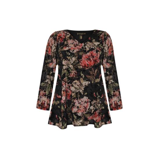 Bluse mit Blumenmuster und Samtblüten