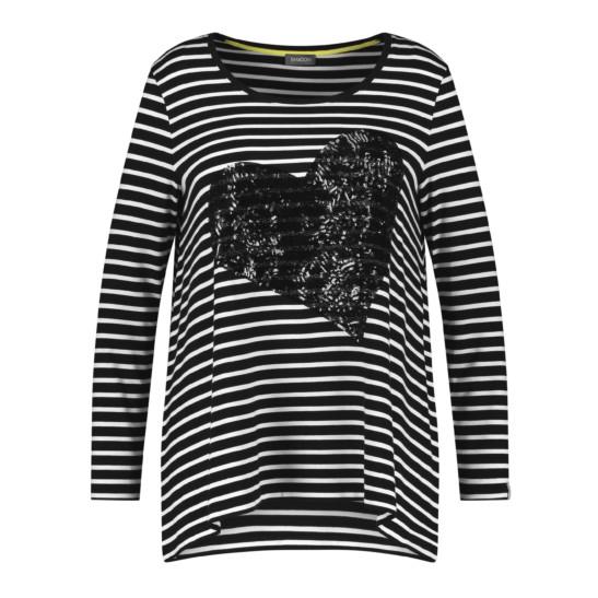 Ringel-Shirt mit Paillettenherz