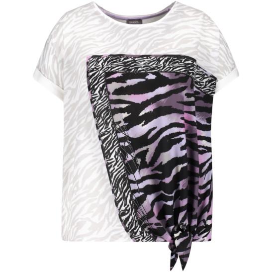 Blusenshirt aus Materialmix in Zebra-Muster und buntem Druck