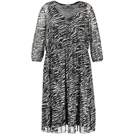 Leichtes Kleid im Zebra-Muster aus softem Mesh-Material